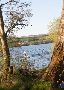 The kids swimming at the loch